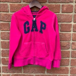 Gap girls size 6-7 pink hooded zip sweatshirt